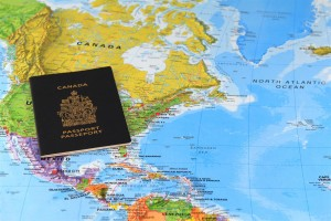 World Map and Canadian Passport